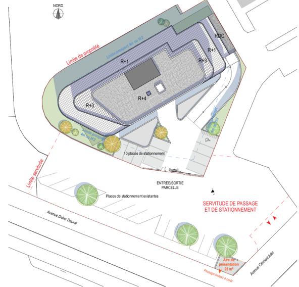 Plan masse bâtiment de 4 étages de bureaux à louer sur la zone aéronautique de Colomiers