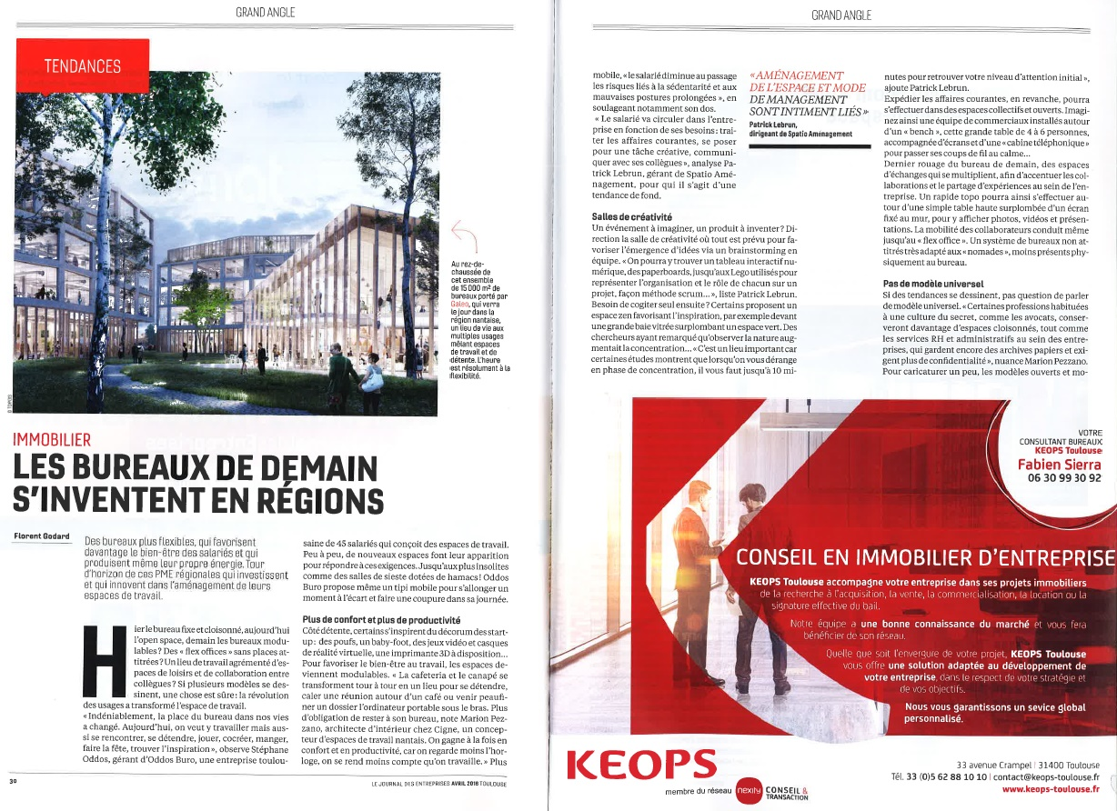 ANNONCE PRESSE I LE JOURNAL DES ENTREPRISES I EDITION AVRIL 2018 I GRAND ANGLE IMMOBILIER